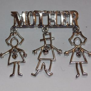 AJC Pin Brooch MOTHER Dangle Children Silver Tone